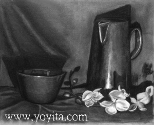 still life pitcher pot flowers by Yoyita charcoal